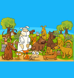 cartoon dog and cats comic characters group vector image