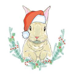 christmas rabbit in santa hat vector image vector image
