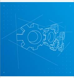 gears blueprint background vector image vector image