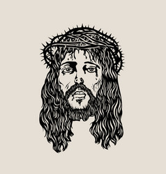 head christ sketch drawing vector image vector image