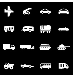white vehicles icon set vector image