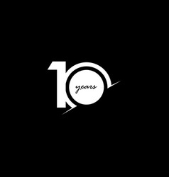 10 years anniversary celebration number white vector