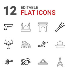 12 historic icons vector image