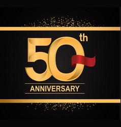 50 years anniversary logotype with premium gold vector