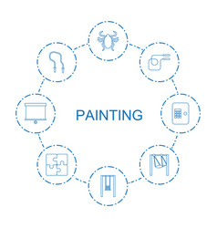 8 painting icons vector