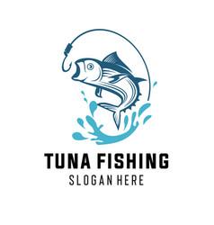 a vintage fishing logo concepts vector image
