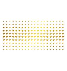 Airplane intercepter golden halftone pattern vector