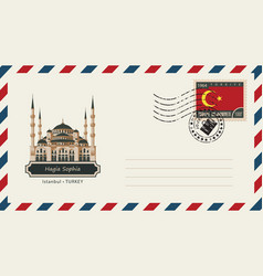an envelope with a postage stamp with hagia sophia vector image