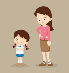 angry girl and teacher vector image