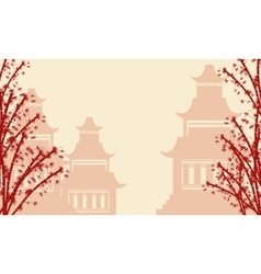 Background of pavilion and bamboo tree vector image