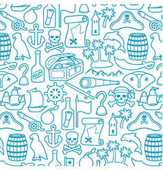 background pattern with pirates icons vector image