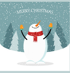 Beautiful flat design christmas card with snowman vector