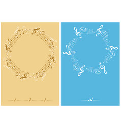 beige and blue music decorative leaflets vector image