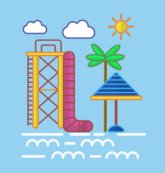 Big water slide sun umbrella and tall palm on vector