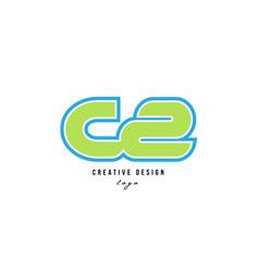 Blue green alphabet letter cz c z logo icon design vector