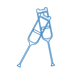 Blue silhouette shading pair of medical crutches vector