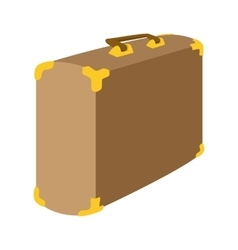 Brown suitcase cartoon icon vector image