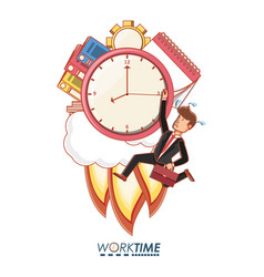 Businessman avatar with work time elements vector