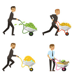 businessmen driving a wheelbarrow with money vector image