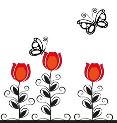 Butterflies and flowers 17 vector