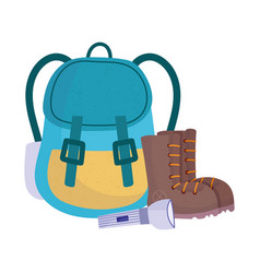 camping rucksack boots and flashlight equipment vector image