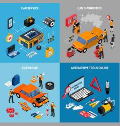 Car service concept icona set vector