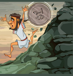 Cartoon man sisyphus runs down the mountain he is vector