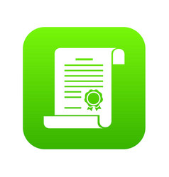 certificate icon green vector image