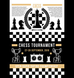 chessboard with chess pices board game tournament vector image