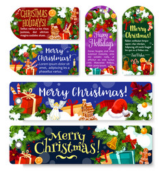 christmas holidays greeting gift tags vector image
