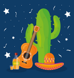 cinco de mayo celebration with cactus and hat vector image