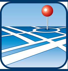 City map with GPS icon vector image