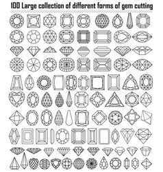 collection different shapes and cut gemstones vector image