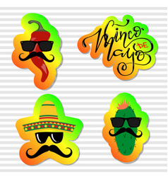 collection of cinco de mayo design elements vector image