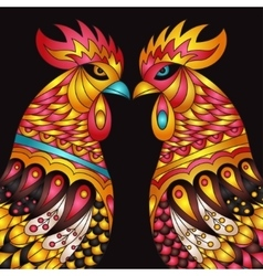 Colorful roosters - zodiac symbol of vector