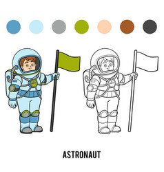 coloring book astronaut vector image