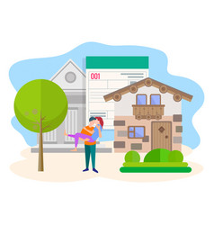 concept of purchasing real estate with the vector image