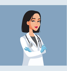 Confident female doctor standing with arms crossed vector