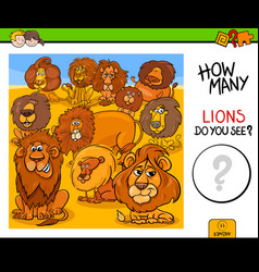 Counting lions animals educational game vector