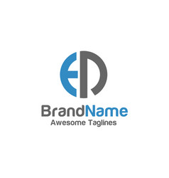 creative letter ed logo with circle design element vector image