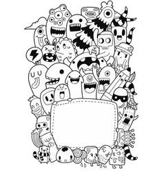 Cute monsters doodle 2 vector