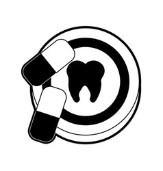 Dentistry emblem with pills icon imag vector