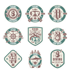 diving school shop club vintage logo set vector image