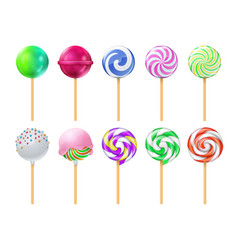 dulce lollipops sweet sugar candy stick isolated vector image