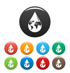 Earth water drop icons set color vector