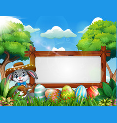 easter bunny playing guitar near blank sign and ea vector image