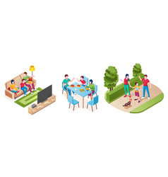 family together watch tv eat dinner walk in park vector image
