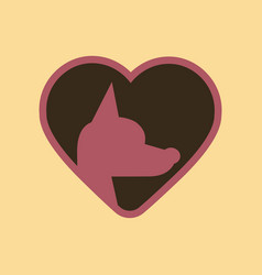 Flat icon on background puppy dog heart vector