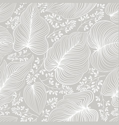 floral line drawn artistic pattern with leaves vector image