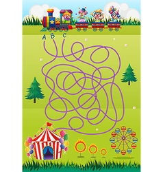 Game template with clowns and circus vector